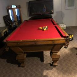 1899 Antique Brunswick Pool Table with Ivory Inlay Comes with Everything